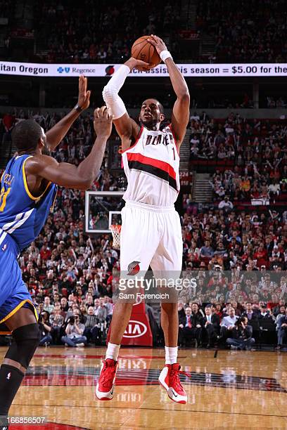 Jared Jeffries of the Portland Trail Blazers goes for a jump shot during the game between the Golden State Warriors and the Portland Trail Blazers on...