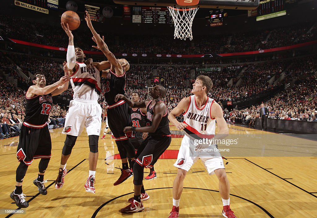Jared Jeffries #1 of the Portland Trail Blazers goes to the basket during the game between the Chicago Bulls and the Portland Trail Blazers on November 18, 2012 at the Rose Garden Arena in Portland, Oregon.
