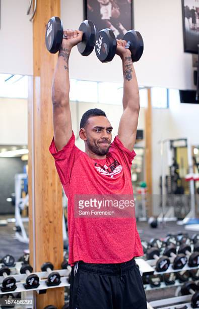 Jared Jeffries of the Portland Trail Blazers lifts weights during practice on October 30 2012 at the Trail Blazers Practice Facility in Tualatin...