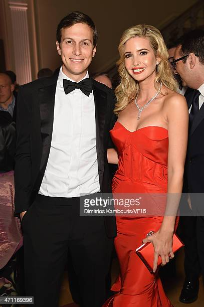 Jared Kushner and Ivanka Trump attend the Bloomberg Vanity Fair cocktail reception following the 2015 WHCA Dinner at the residence of the French...