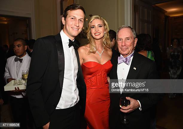 Jared Kushner Ivanka Trump and Michael Bloomberg attend the Bloomberg Vanity Fair cocktail reception following the 2015 WHCA Dinner at the residence...