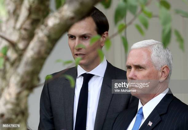 Jared Kushner senior advisor to US President Donald Trump and US Vice President Mike Pence attend a joint statemen in the Rose Garden held by US...
