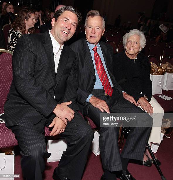 Jared Lang President of Fashion Houston 2010 Presented By Audi sits in the front row with former President George HW Bush and first lady Barbara Bush...