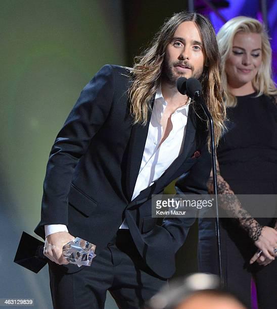 Jared Leto accepts award onstage at the19th Annual Critics' Choice Movie Awards at Barker Hangar on January 16 2014 in Santa Monica California
