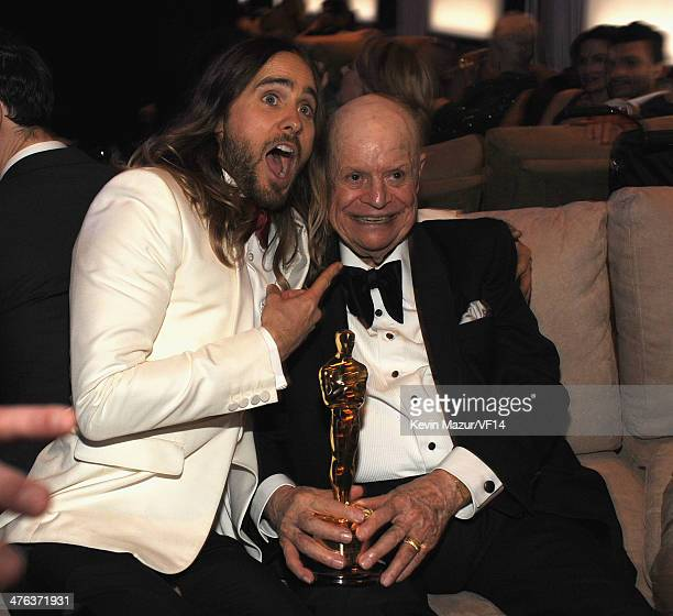Jared Leto and Don Rickles attend the 2014 Vanity Fair Oscar Party Hosted By Graydon Carter on March 2 2014 in West Hollywood California
