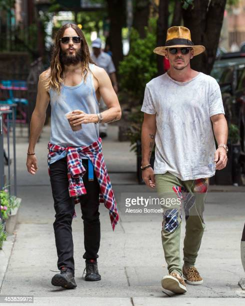 Jared Leto and his brother Shannon Leto are seen walking in East Village on August 19 2014 in New York City