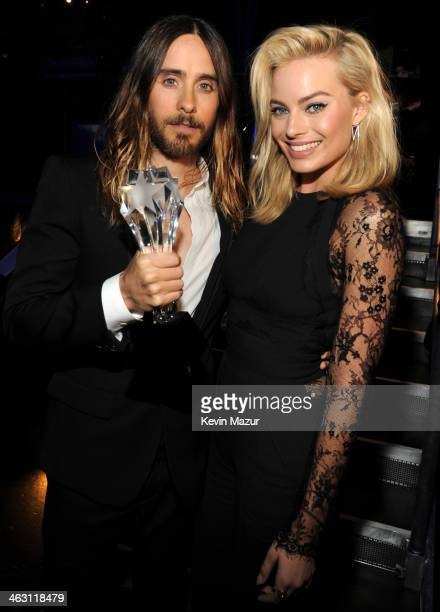 Jared Leto and Margot Robbie attend the19th Annual Critics' Choice Movie Awards at Barker Hangar on January 16 2014 in Santa Monica California