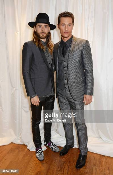 Jared Leto and Matthew McConaughey attend the UK Premiere of 'Dallas Buyers Club' at The Washington Hotel on January 29 2014 in London England