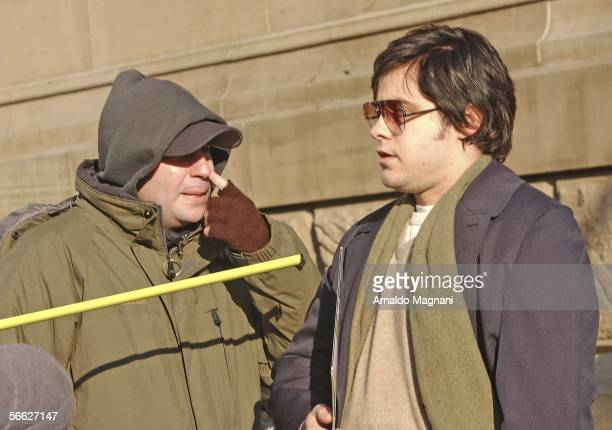 Jared Leto and the director of the movie 'Chapter 27' Jarrett Schaeffer are seen on the movie set during filming 'Chapter 27' in front of the Dakota...