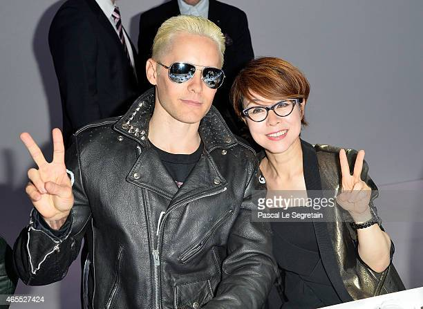 Jared Leto and Younghee Lee attend the Paris Fashion Week Tasting Night with Galaxy featuring Brad Goreski model Jessica Stam and Executive Vice...