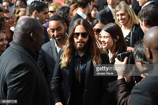 Jared Leto arrives at Giorgio Armani Prive show as part of Paris Fashion Week Haute Couture Fall/Winter 20142015 at Theatre National de Chaillot on...