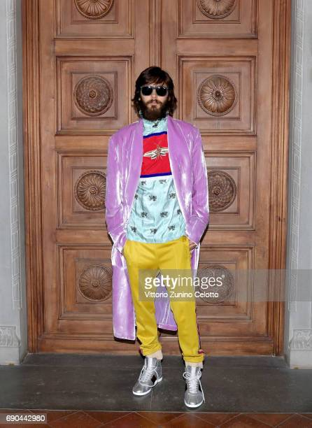 Jared Leto arrives at the Gucci Cruise 2018 fashion show at Palazzo Pitti on May 29 2017 in Florence Italy