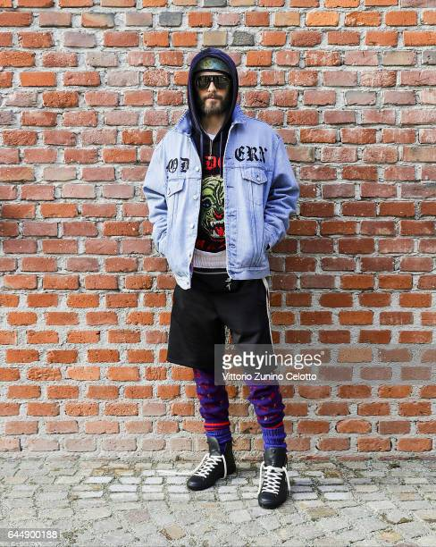 Jared Leto arrives at the Gucciy show during Milan Fashion Week Fall/Winter 2017/18 on February 22 2017 in Milan Italy