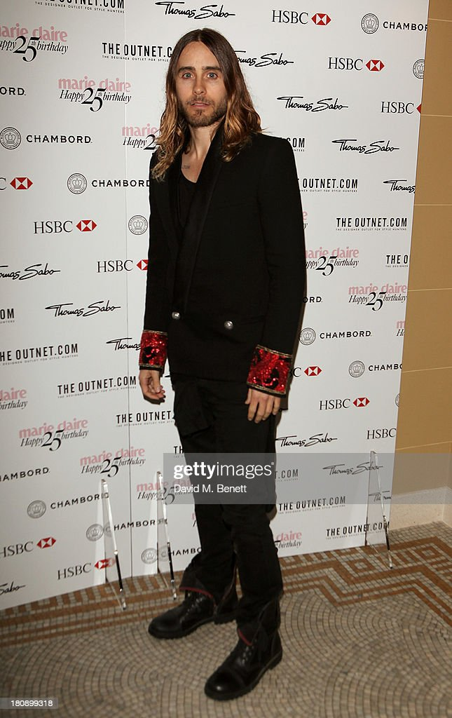 <a gi-track='captionPersonalityLinkClicked' href=/galleries/search?phrase=Jared+Leto&family=editorial&specificpeople=214764 ng-click='$event.stopPropagation()'>Jared Leto</a> arrives at the Marie Claire 25th birthday celebration featuring Icons of Our Time in association with The Outnet at the Cafe Royal Hotel on September 17, 2013 in London, England.