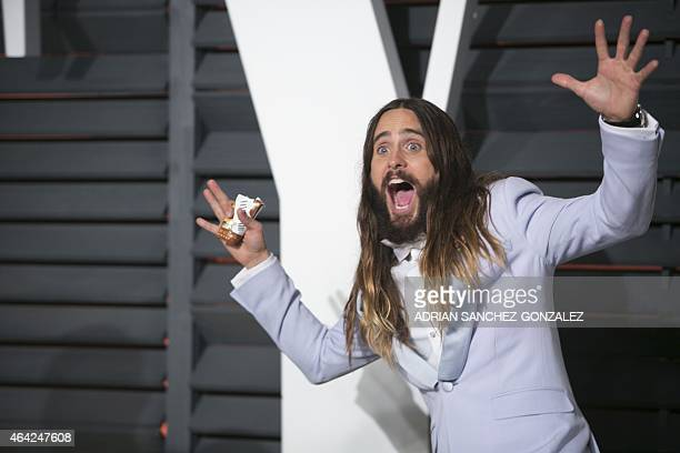 Jared Leto arrives to the 2015 Vanity Fair Oscar Party February 22 2015 in Beverly Hills California AFP PHOTO/ADRIAN SANCHEZGONZALEZ