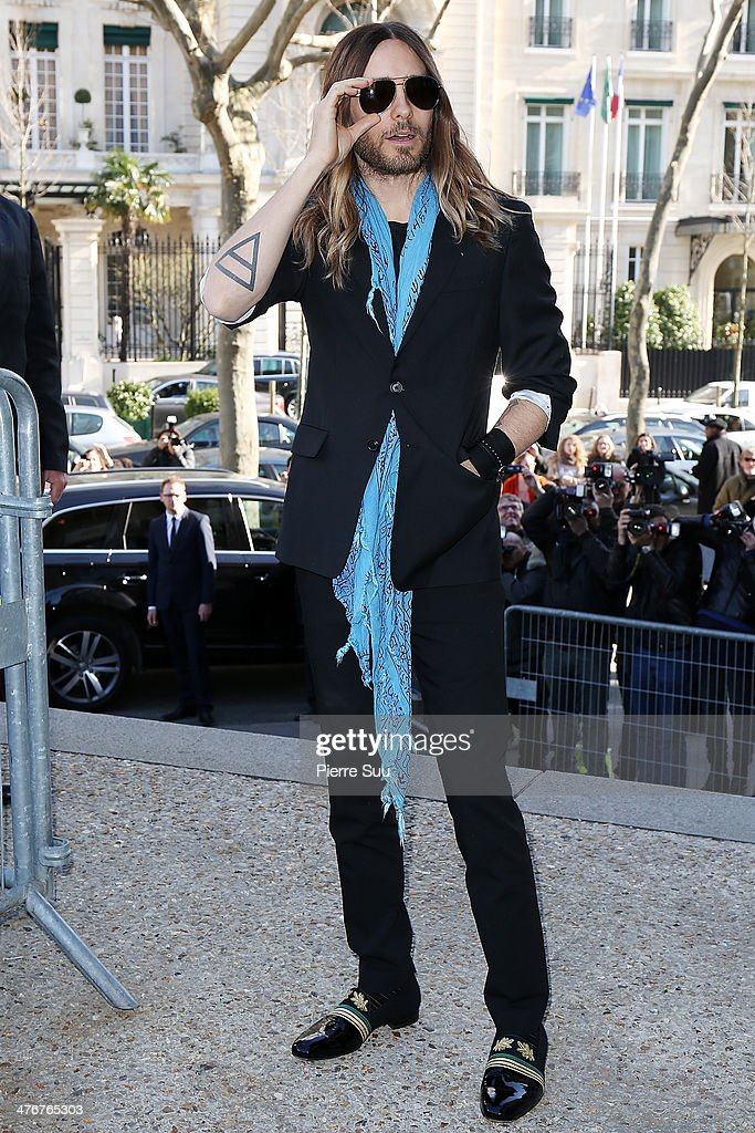 <a gi-track='captionPersonalityLinkClicked' href=/galleries/search?phrase=Jared+Leto&family=editorial&specificpeople=214764 ng-click='$event.stopPropagation()'>Jared Leto</a> attend the Miu Miu show as part of the Paris Fashion Week Womenswear Fall/Winter 2014-2015 on March 5, 2014 in Paris, France.