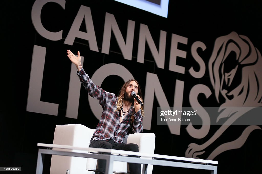<a gi-track='captionPersonalityLinkClicked' href=/galleries/search?phrase=Jared+Leto&family=editorial&specificpeople=214764 ng-click='$event.stopPropagation()'>Jared Leto</a> attends A Conversation With Benjamin Palmer during Cannes Lions Festival at the Palais des Festivals on June 18, 2014 in Cannes, France.