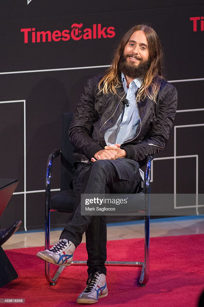<a gi-track='captionPersonalityLinkClicked' href=/galleries/search?phrase=Jared+Leto&family=editorial&specificpeople=214764 ng-click='$event.stopPropagation()'>Jared Leto</a> attends a TimesTalks Evening with <a gi-track='captionPersonalityLinkClicked' href=/galleries/search?phrase=Jared+Leto&family=editorial&specificpeople=214764 ng-click='$event.stopPropagation()'>Jared Leto</a> at The Times Center on August 14, 2014 in New York City.