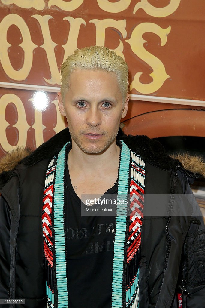 <a gi-track='captionPersonalityLinkClicked' href=/galleries/search?phrase=Jared+Leto&family=editorial&specificpeople=214764 ng-click='$event.stopPropagation()'>Jared Leto</a> attends Art Exhibition At Galerie Perrotin as part of the Paris Fashion Week Womenswear Fall/Winter 2015/2016 on March 6, 2015 in Paris, France.
