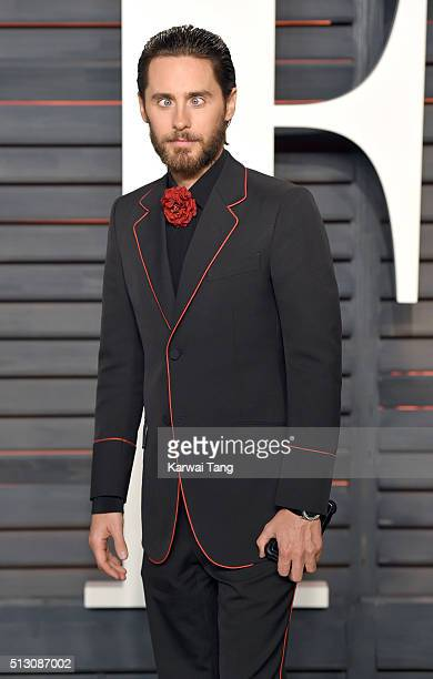 Jared Leto attends the 2016 Vanity Fair Oscar Party Hosted By Graydon Carter at Wallis Annenberg Center for the Performing Arts on February 28 2016...