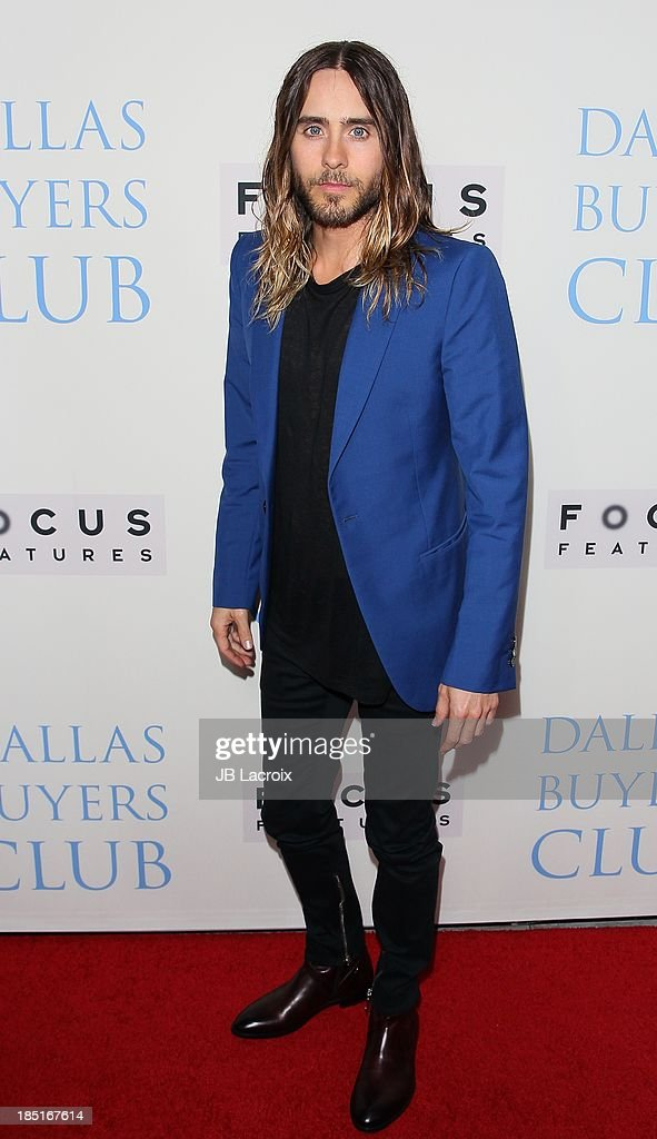 Jared Leto attends the 'Dallas Buyers Club' Los Angeles premiere held at the Academy of Motion Picture Arts and Sciences on October 17 2013 in...