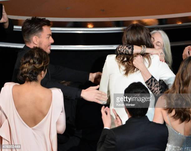 Jared Leto hugs his mother Constance as they attend the Oscars at the Dolby Theatre on March 2 2014 in Hollywood California