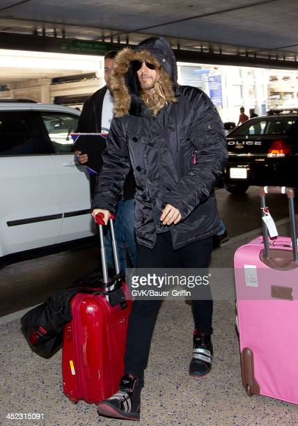 Jared Leto is seen arriving at Los Angeles International airport on November 27 2013 in Los Angeles California