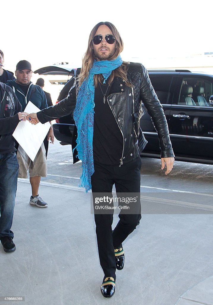 Jared Leto is seen at LAX airport on March 04, 2014 in Los Angeles, California.