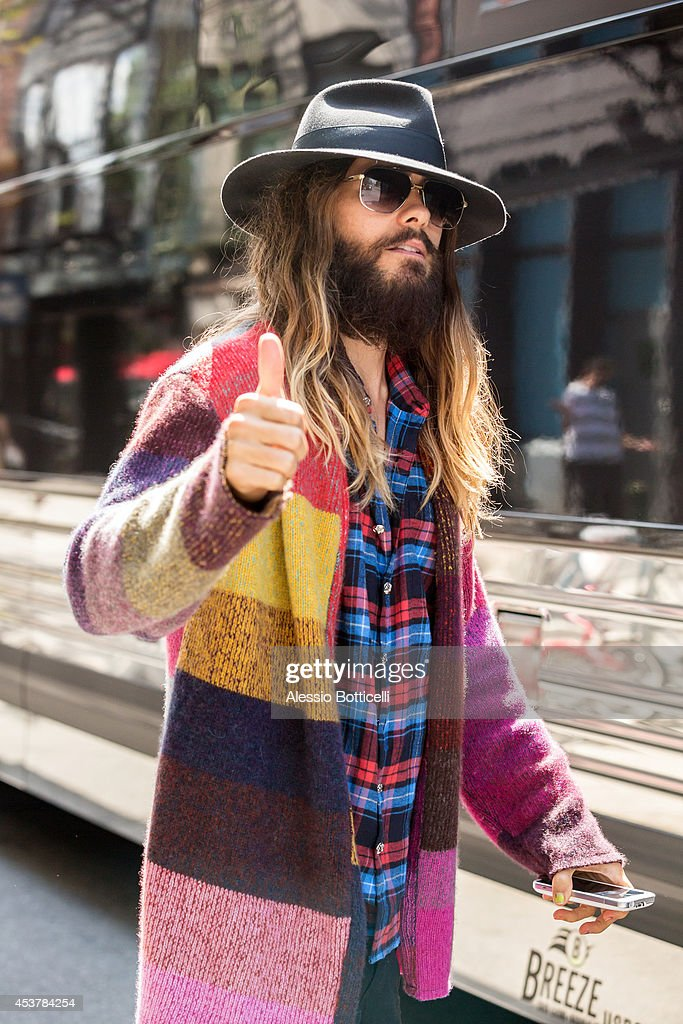 Jared Leto is seen leaving his Manhattan hotel on August 18 2014 in New York City