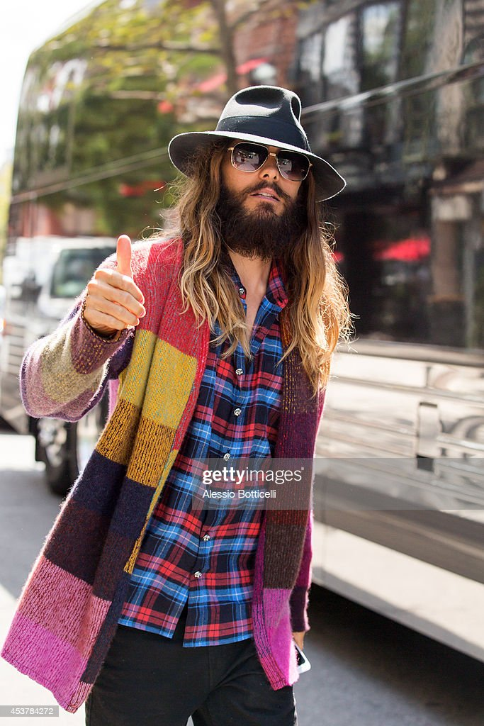 Jared Leto is seen leaving his Manhattan hotel on August 18, 2014 in New York City.
