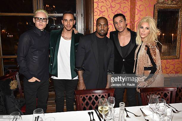 Jared Leto Lewis Hamilton Kanye West Olivier Rousteing Kim Kardashian attend the Balmain Aftershow Dinner as part of the Paris Fashion Week...