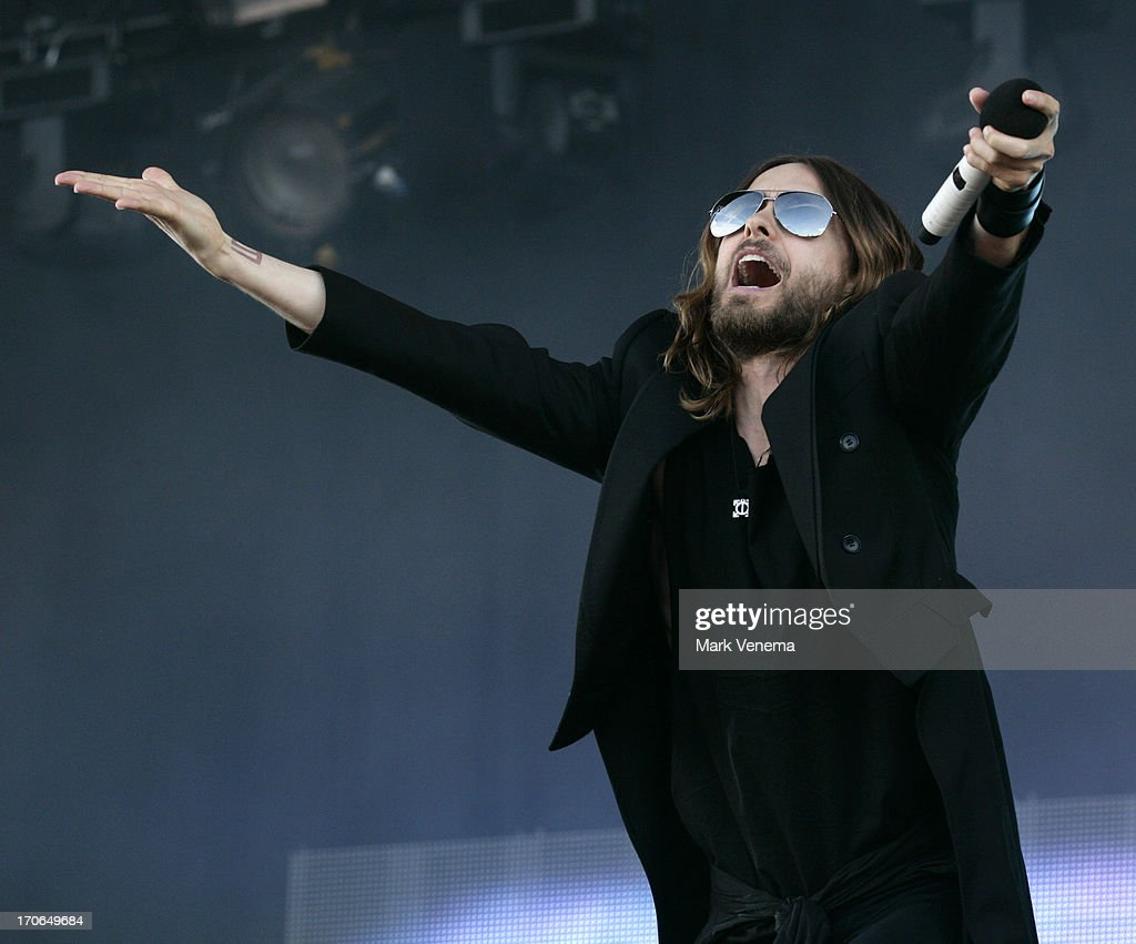 <a gi-track='captionPersonalityLinkClicked' href=/galleries/search?phrase=Jared+Leto&family=editorial&specificpeople=214764 ng-click='$event.stopPropagation()'>Jared Leto</a> of 30 Seconds To Mars performs at Day 2 of Pinkpop at Megaland on June 15, 2013 in Landgraaf, Netherlands.