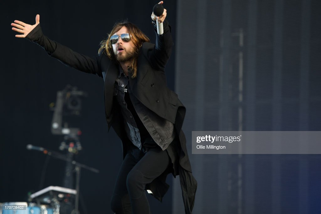 <a gi-track='captionPersonalityLinkClicked' href=/galleries/search?phrase=Jared+Leto&family=editorial&specificpeople=214764 ng-click='$event.stopPropagation()'>Jared Leto</a> of 30 Seconds to Mars performs at Day 3 of The Download Festival at Donnington Park on June 16, 2013 in Donnington, England.
