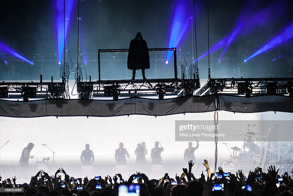 Jared Leto of 30 Seconds to Mars performs live on stage at Motorpoint Arena on November 14, 2013 in Cardiff, United Kingdom.