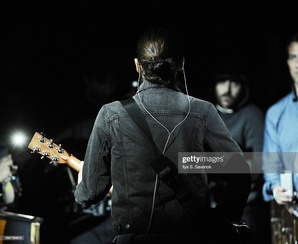 Jared Leto of the band 30 Seconds to Mars performs during the 'Love Lust Faith & Dreams' Album Preview Concert at The New York Theatre At Saint Peter's Church At Citicorp on May 14, 2013 in New York City.