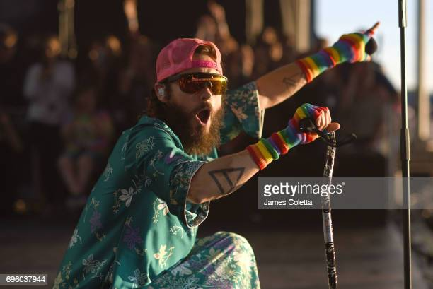 Jared Leto of Thirty Seconds to Mars performs at The Hollywood Casino Amphitheater on June 13 2017 in St Louis Missouri