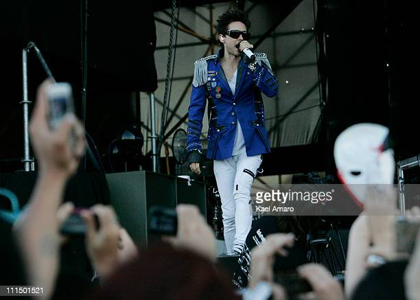Jared Leto of Thirty Seconds to Mars performs live on stage during the 2011 Lollapalooza Music Festival at OHiggins Park on April 3 2011 in Santiago...