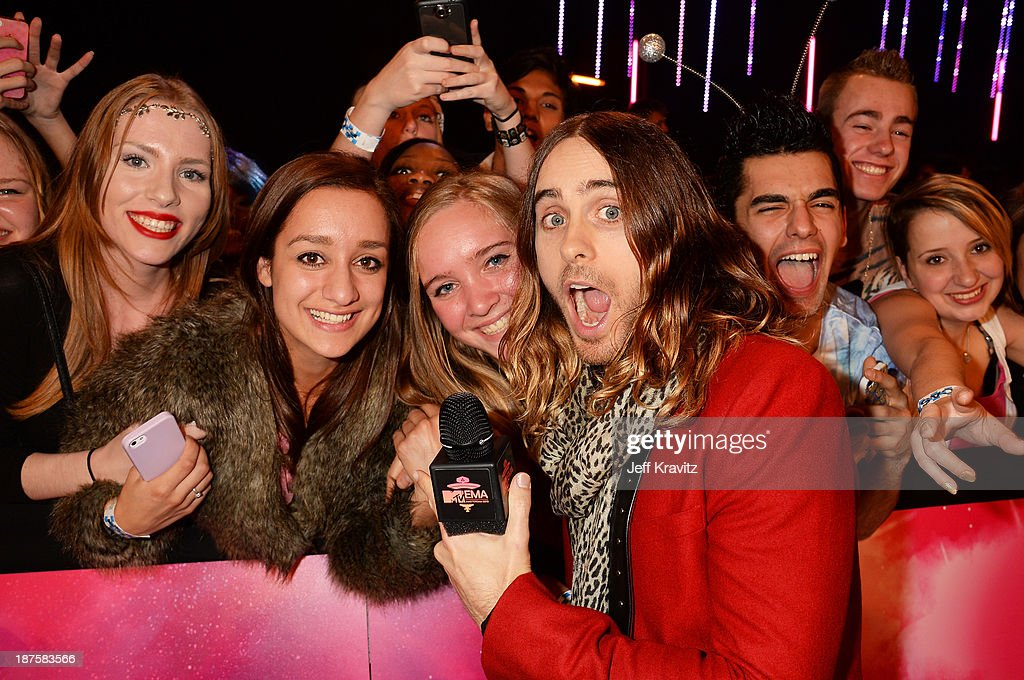 <a gi-track='captionPersonalityLinkClicked' href=/galleries/search?phrase=Jared+Leto&family=editorial&specificpeople=214764 ng-click='$event.stopPropagation()'>Jared Leto</a> of Thirty Seconds To Mars poses with fans as he attends the MTV EMA's 2013 at the Ziggo Dome on November 10, 2013 in Amsterdam, Netherlands.