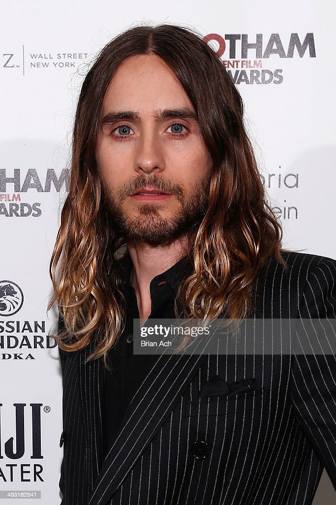 <a gi-track='captionPersonalityLinkClicked' href=/galleries/search?phrase=Jared+Leto&family=editorial&specificpeople=214764 ng-click='$event.stopPropagation()'>Jared Leto</a> poses backstage at IFP's 23nd Annual Gotham Independent Film Awards at Cipriani Wall Street on December 2, 2013 in New York City.