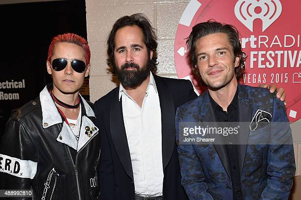 Jared Leto Ronnie Vannucci and Brandon Flowers attend the 2015 iHeartRadio Music Festival at MGM Grand Garden Arena on September 18 2015 in Las Vegas...