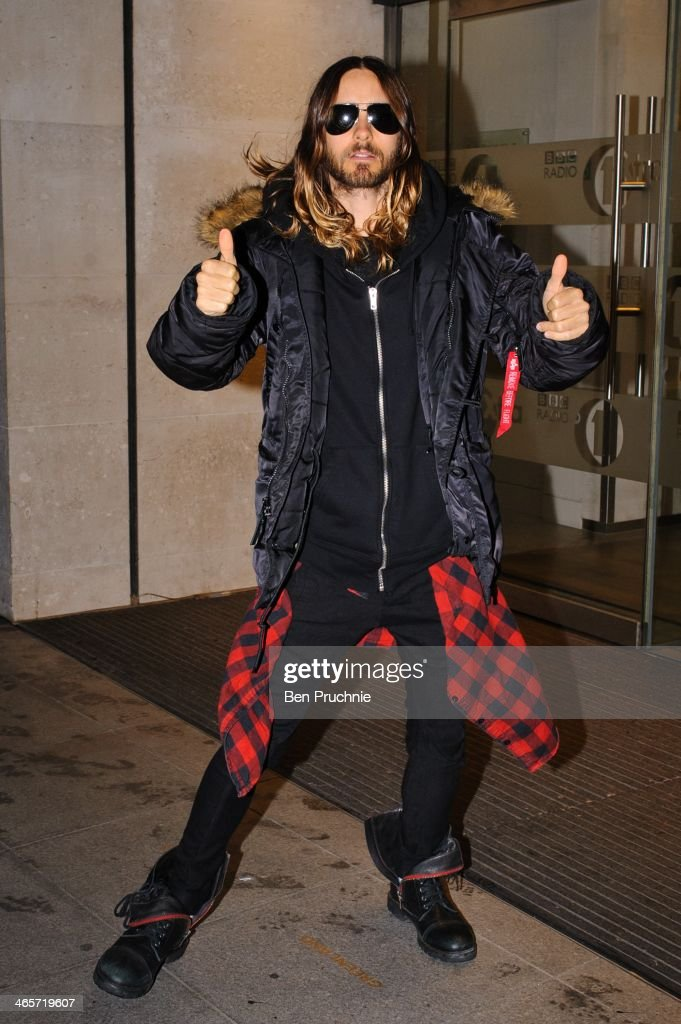 <a gi-track='captionPersonalityLinkClicked' href=/galleries/search?phrase=Jared+Leto&family=editorial&specificpeople=214764 ng-click='$event.stopPropagation()'>Jared Leto</a> sighted at BBC Radio Studios on January 29, 2014 in London, England.