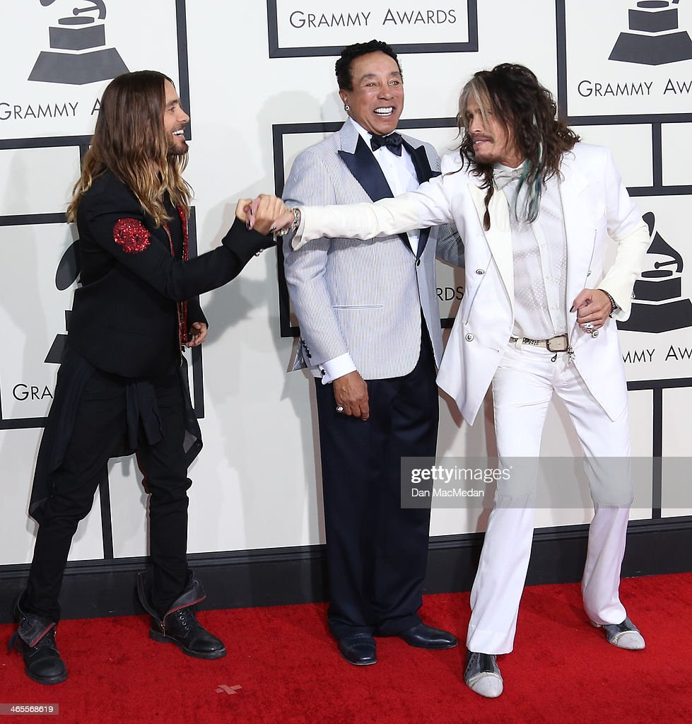 Jared Leto, Smokey Robinson, and Steven Tyler arrive at the 56th Annual GRAMMY Awards at Staples Center on January 26, 2014 in Los Angeles, California.