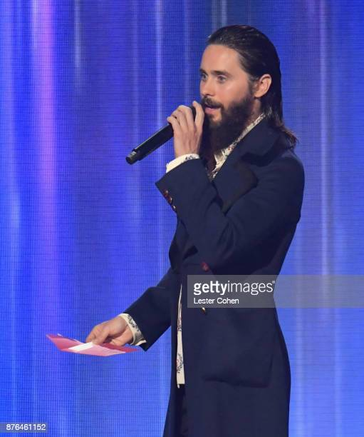 Jared Leto speaks onstage during the 2017 American Music Awards at Microsoft Theater on November 19 2017 in Los Angeles California