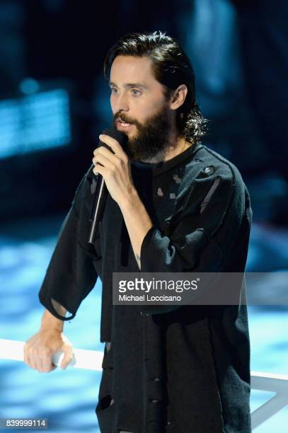 Jared Leto speaks onstage during the 2017 MTV Video Music Awards at The Forum on August 27 2017 in Inglewood California