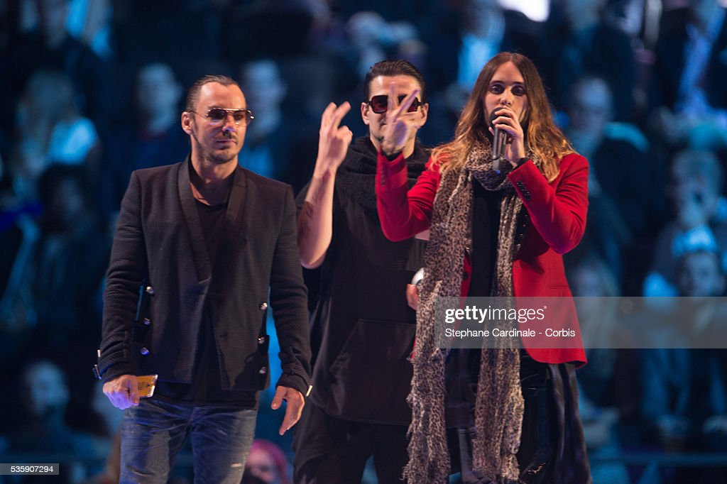 Jared Leto, Tomo Milicevic and Shannon Leto of Thirty Seconds To Mars accept the Best Alternative award during the MTV EMA's 2013 at the Ziggo Dome in Amsterdam, Netherlands.