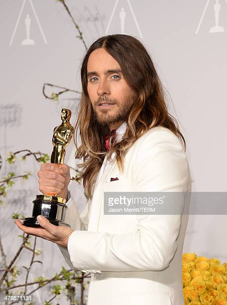 Jared Leto winner of Best Performance by an Actor in a Supporting Role poses in the press room during the Oscars at Loews Hollywood Hotel on March 2...