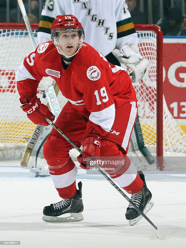 Jared McCann #19 of the Sault Ste. Marie Greyhounds skates against the London Knights during an OHL game at the Budweiser Gardens on December 4, 2013 in London, Ontario, Canada. The Knights defeated the Greyhounds 3-2.