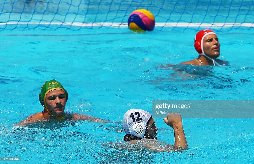 Jared McElroy of Canada celebrates after scoring a goal during the Men's Water Polo first preliminary round match between Canada and South Africa during day three of the 15th FINA World Championships at Piscines Bernat Picornell on July 22, 2013 in Barcelona, Spain.
