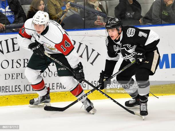 Jared McIsaac of the Halifax Mooseheads and Alexandre Alain of the BlainvilleBoisbriand Armada skate against each other during the QMJHL game at...
