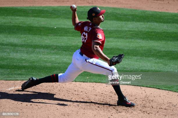 Jared Miller of the Arizona Diamondbacks delivers a pitch during the spring training game at Salt River Fields at Talking Stick on February 25 2017...